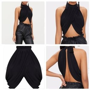 PrettyLittle Thing Black Neck Wrap Crop Top 12